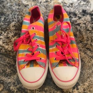 NEVER WORN Pink, Orange and Blue Stripped Converse